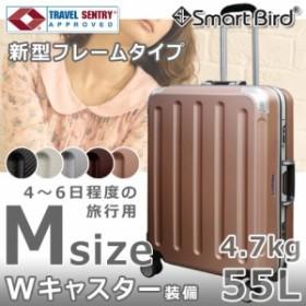 スーツケース Mサイズ フレーム キャリーケース M スーツケース 中型 キャリーバッグ 軽量 計8輪 TSAロック 送料無料