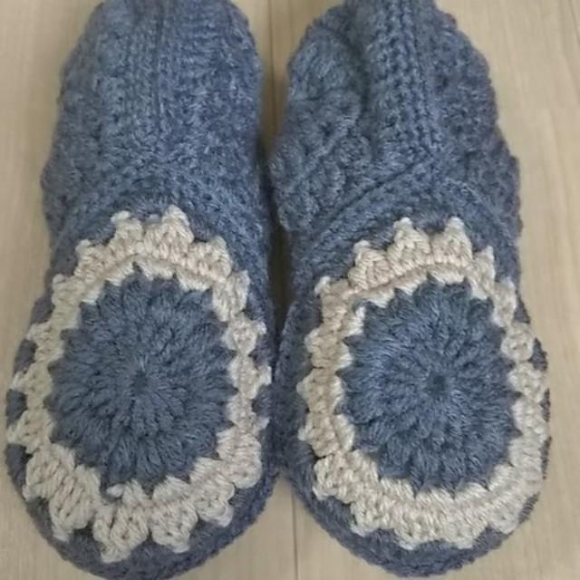 冬支度12『チャコールグレー&ベージュコンビ』手編みフットカバールームシューズ冷えとり靴下温活-ルームソックス-