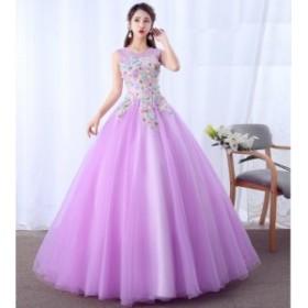 袖なし 優雅 ロングドレス チュールスカート パーティードレス フォマールドレス 演奏会 成人式 カラードレス ファション お呼ばれドレス