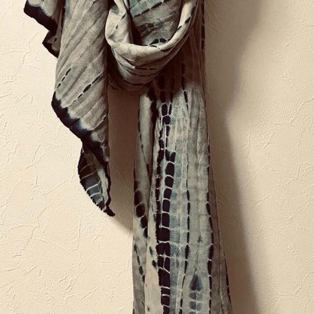 藍絞り染 ウール×絹 マフラー