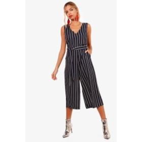 オールインワン サロペット オーバーオール レディース Boohoo Striped Belted Culotte Jumpsuit navy