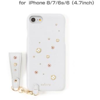 [iPhone 8/7/6s/6専用]salisty(サリスティ)P パールスタッズ ハードケース(ペールブルー)P-HC005C 276-898925