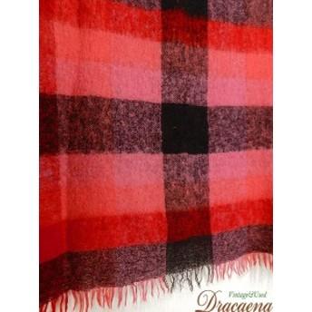 古着 雑貨 60-70s SCOTLAND製 赤×ピンク×グレー ふわふわ モヘア ウール ブランケットマルチ カバー 大判 雑貨 古着