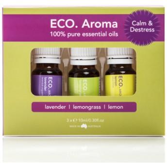 ECO. Calm & Destress Aroma Trio (エコ カルム&ディストレス アロマ トリオ)癒やしとリラックスのエッセンシャルオイル3本セット