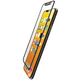 iPhone XS フルカバーフィルム 衝撃吸収 防指紋 高光沢 PMCA18BFLPGRBK ブラック