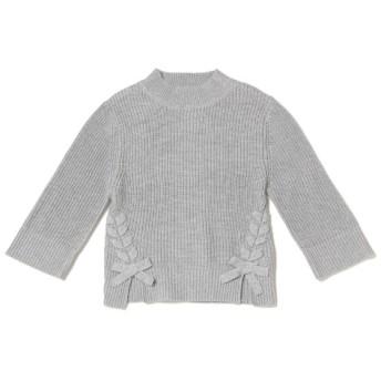 ニット・セーター - petitmain リボンつきモックネックニット