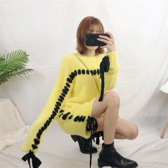 [55555SHOP]2018新品 大人気 韓国ファッション CHIC気質 細身 セーター ワンビース