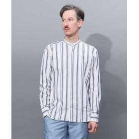 【30%OFF】 アバハウス タイプライターストライプバンドカラーシャツ メンズ ホワイト 48 【ABAHOUSE】 【セール開催中】