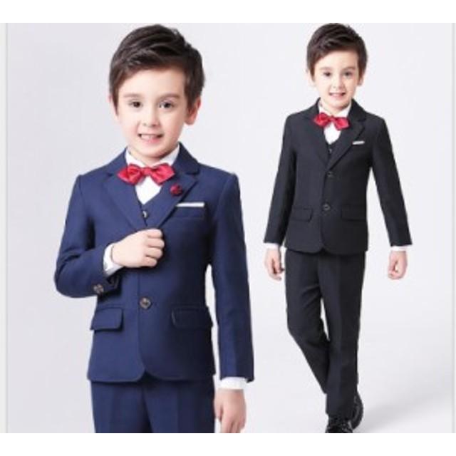ed20ebc3260cc 男児スーツ 100~170 キッズスーツ 4点セット 男の子 フォーマルスーツ 七五三 ピアノ ジュニア
