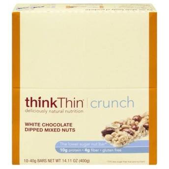 thinThin クランチ低糖ナッツバーホワイトチョコレートディップミックスナッツ 10CT