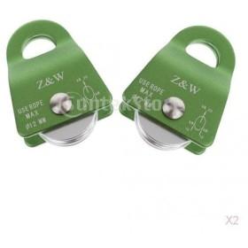 12ミリメートルロープ緑2個20KNロッククライミングアルミ汎用プーリー