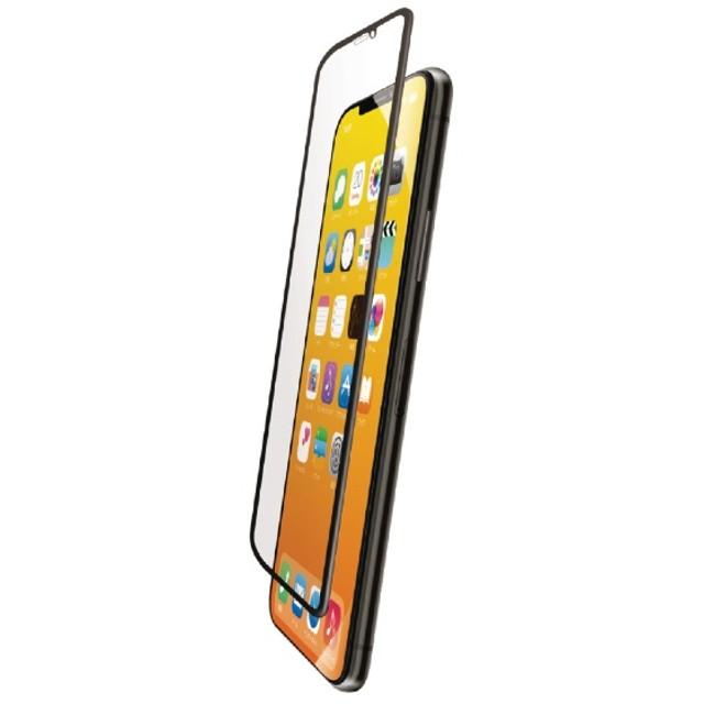 iPhone XS フルカバーガラスフィルム ハイブリッドフレーム付 BLカット PMCA18BFLUVRBLB ブラック