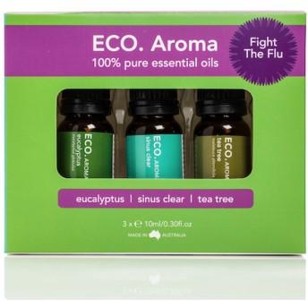 ECO. Fight the Flu Aroma Trio (エコ ファイト フル アロマ トリオ) 風邪やインフルエンザと闘ってくれるエッセンシャルオイル3本セット