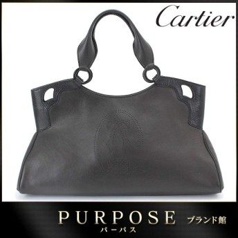 カルティエ Cartier マルチェロ ドゥ カルティエ MM ハンド バッグ ブラック レザー リザード L1000828