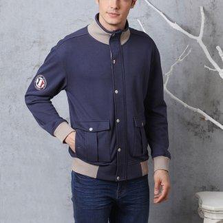 男式衛衣夾克-棒球夾克式休閒保暖棉外套-(兩色)