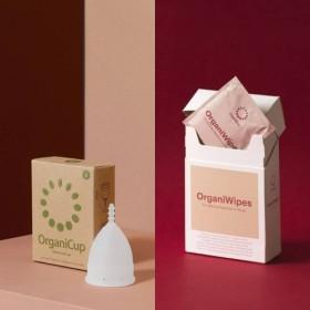 オーガニカップ(月経カップ)(出産未経験用サイズ)とオーガニワイプスセット