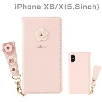 [iPhone XS/X専用]salisty(サリスティ)P フラワースタッズ ダイアリーケース(ベビーピンク)P-DC002G 276-901106