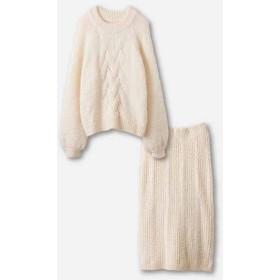 ハコ ケーブル編みがかわいい万能ニットアップ レディース アイボリー S 【haco!】