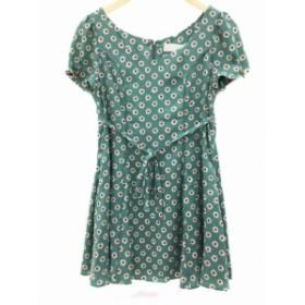 【中古】ボニカ bonica ドット dot ワンピース ミニ 花柄 半袖 緑 グリーン /FH98 レディース