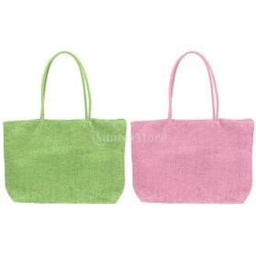 2個 ストロー ビーチ 織りバッグ ショルダー トートバッグ 財布