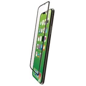 iPhoneXS Max フルカバーガラスフィルム ハイブリッドフレーム付 BLカット PMCA18DFLUVRBLB ブラック