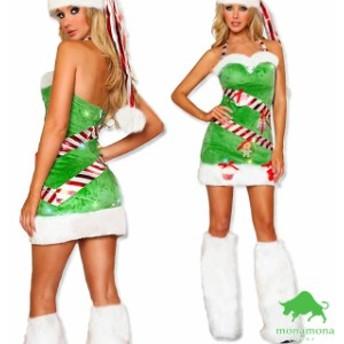[早割][即納][3点セット]個性派 サンタ ツリー サンタ ワンピ クリスマス Xmas 仮装 コスプレ 衣装 セクシー 定番 コスチューム