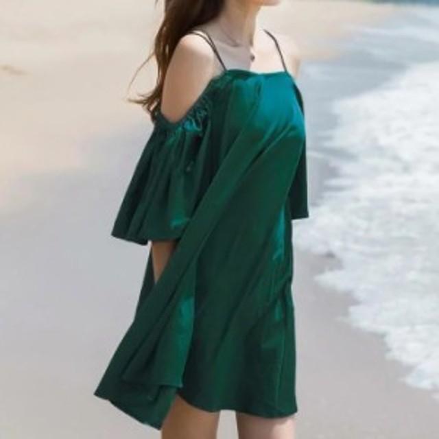 オフショルダーワンピース バルーン キャミワンピース オフショルワンピ エスニック 無地 グリーン 小柄 小さいサイズ 小さい 服