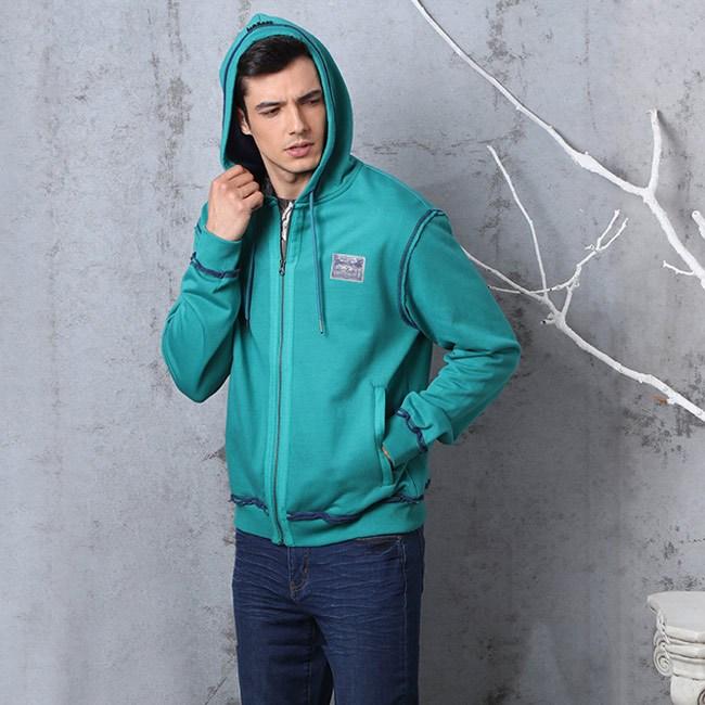 男式衛衣帽衫-休閒大學T款連帽棉外套-(兩色)