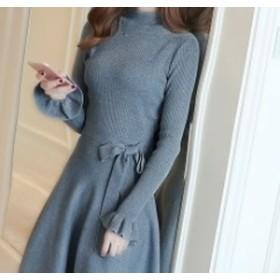 【f0517】レディース ファッション ワンピース セーター お出かけ デート グレー ブラック レッド ベージュ ブルー