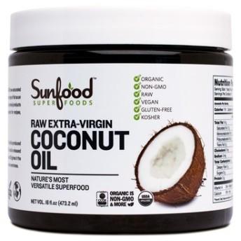 Sunfood, Raw オーガニック エキストラバージン ココナッツオイル,454g