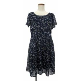 【中古】ミニマム MINIMUM ワンピース ギャザー ミニ 花リボン柄 半袖 2 紺 ネイビー /TM7 レディース