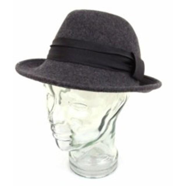 ff0e4965fb945e 【中古】チャオパニック CIAOPANIC 帽子 ハット リボン 中折 グレー aky レディース