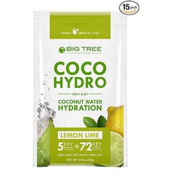 ビッグツリーファームス ココナッツウォーターパウダー レモンライム味 15袋(Big Tree Farms, Coco Hydrol)