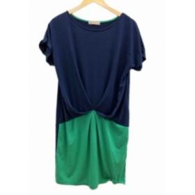 【中古】ビームスハート BEAMS HEART ワンピース ひざ丈 半袖 F 紺 ネイビー 緑 グリーン /FH40 レディース