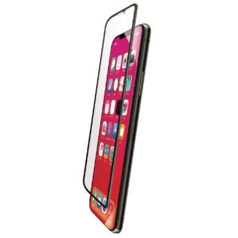 iPhone XR フルカバーガラスフィルム ハイブリッドフレーム付 BLカット PMCA18CFLUVRBLB ブラック