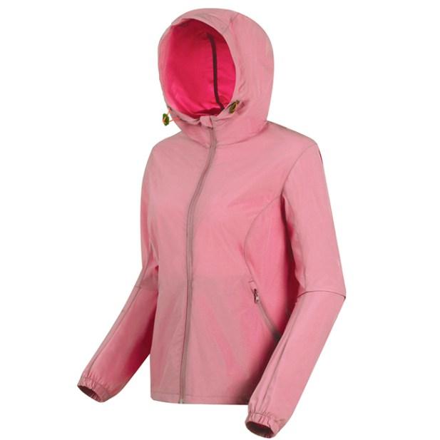 女款法式優雅連帽短版輕薄彈力風衣(藕灰粉)