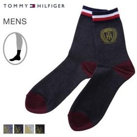 【メール便(10)】 (トミー・ヒルフィガー)TOMMY HILFIGER クルー丈 ソックス 靴下 メンズ アイビー調 プリント 日本製 25-27cm