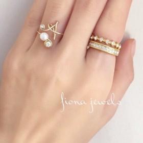 【再販】initial ring×swarovski ring 3set