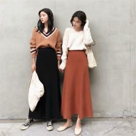 Fashions、2018新品 韓国ファッション ニット 細身 ハイウエスト スカート