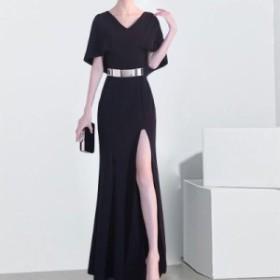 パーティードレス ワンピースドレス 結婚式 ドレス お呼ばれ ワンピース お呼ばれドレス 卒業式 二次会 長袖 20代 30代 黒ブラック N094