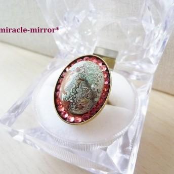 天然石メノウのカボションリング(ピンク系スワロ) 04030