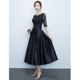 黒 結婚式 ドレス お呼ばれ ワンピース 20代 30代 袖あり 五分袖 レース かわいい ミモレ 膝下 韓国風 二次会 ブラック