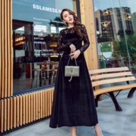 パーティードレス ワンピースドレス 結婚式 ドレス お呼ばれ ワンピース お呼ばれドレス 卒業式 二次会 長袖 20代 30代 黒ブラック H027