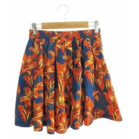061c8e950b1fc ココディール COCO DEAL スカート ギャザー 花柄 ミニ 1 青 ブルー オレンジ  YK20 レディース