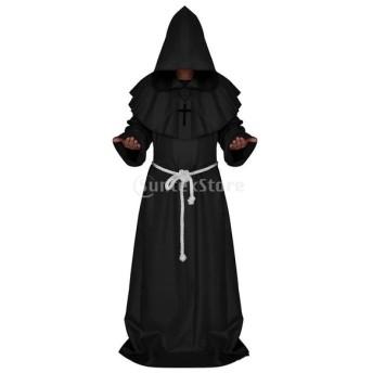 修道士 衣装 ローブ 仮装 プリースト コスプレ マント コスチューム フード付き 全4サイズ 2色 - ブラック, S