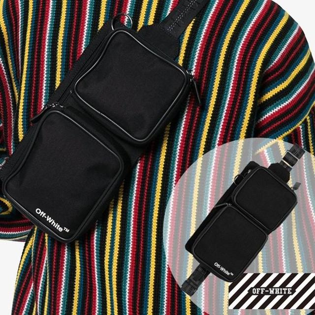 在庫処分セール!Off-White オフホワイト ロゴ ベルトバッグ  OMNA024E185210221001 ブラック