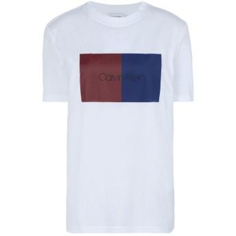 《期間限定セール開催中!》CALVIN KLEIN レディース T シャツ ホワイト M 100% コットン DUO LOGO PRT T-SHIRT