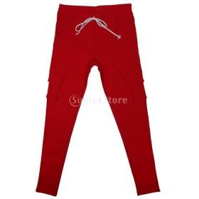レディース 弾性 ペンシルパンツ カジュアル マルチポケット パンツ ロングパンツ ズボン 全4色5サイズ選べる - 赤, S