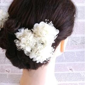 カラーオーダーOK!あじさい&カスミソウmixのヘッドドレス ホワイト *プリザーブドフラワー*3点セット