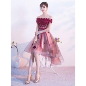 パーティードレス 結婚式 ドレス お呼ばれ ワンピース 20代 刺繍 レース  フィッシュティール 赤 花柄 韓国風 膝下